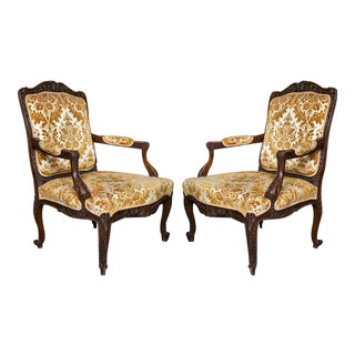 French Louis XV-Style Walnut Armchairs - A Pair