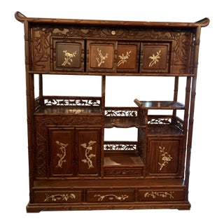 1940s Chinese Mother of Pearl Inlaid Cabinet For Sale