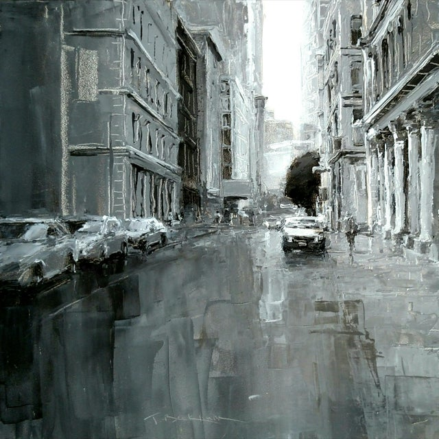 "Paint Beckham Contemporary Framed New York City Scene""Grand Street"" For Sale - Image 7 of 7"