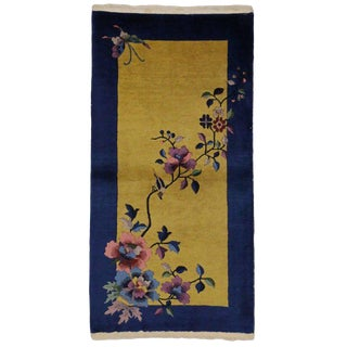 20th Century Chinese Art Deco Style Accent Rug - 2′5″ × 4′9″ For Sale