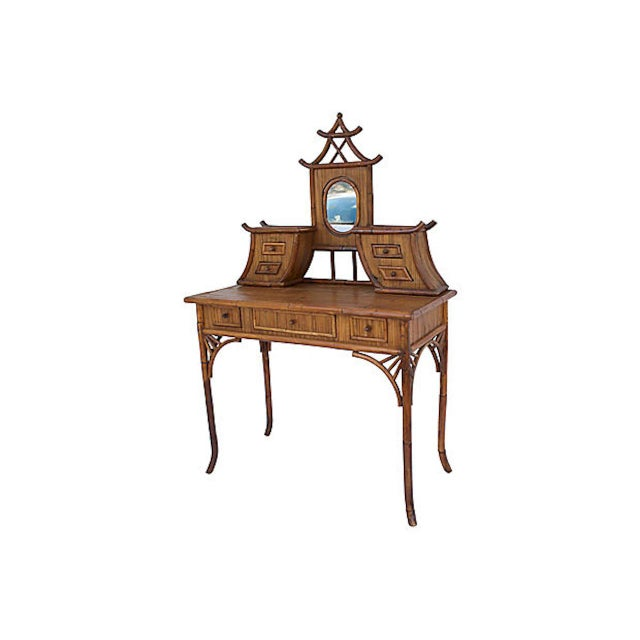Chinoiserie Chinoiserie Rattan Vanity For Sale - Image 3 of 9