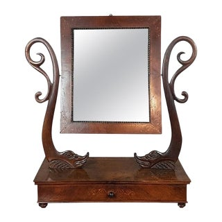 19th Century Italian Charles X Walnut Inlaid Dressing Table Mirror, 1830s For Sale