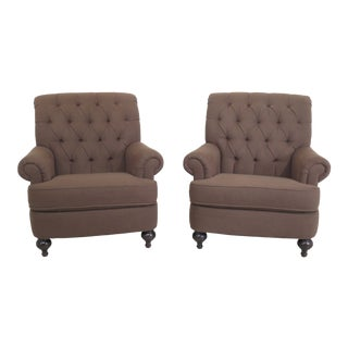 Pair Ethan Allen Tufted Back Green Upholstered Club Chairs For Sale