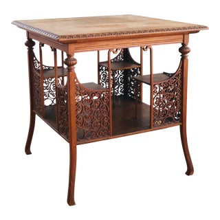 1900s Victorian 2-Tiered Walnut Library Table For Sale