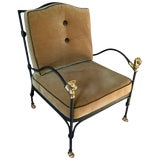 Image of Vintage Diego Giacometti Style Wrought Iron Chair For Sale