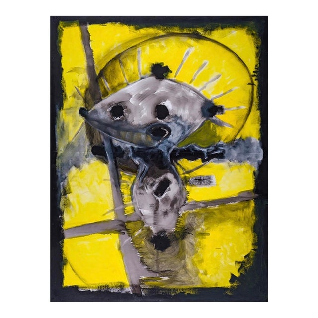 """2018 United States Wolfgang Sven Jasper's Neo-Expressionist """"Yellow Yellow"""" Acrylic & Oil Based Rustoleum on Board Painting For Sale"""