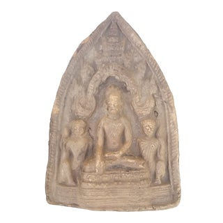 Large Old Clay Buddhist Amulet For Sale