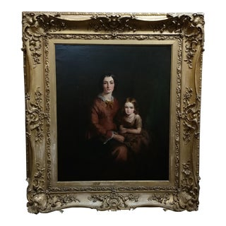 Robert Thorburn Ross -Portrait of Lady & Child -Beautiful Victorian Oil Painting-1850