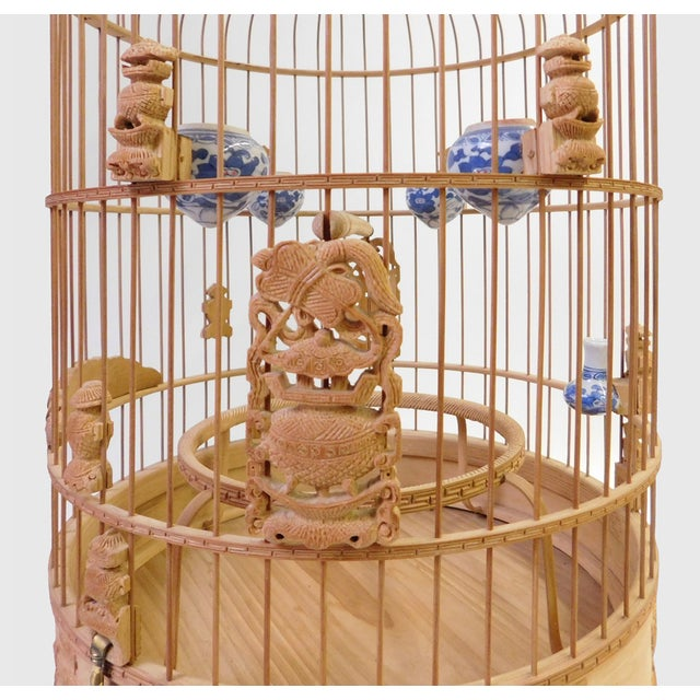 Bamboo Floral Carved Birdcage For Sale - Image 5 of 9