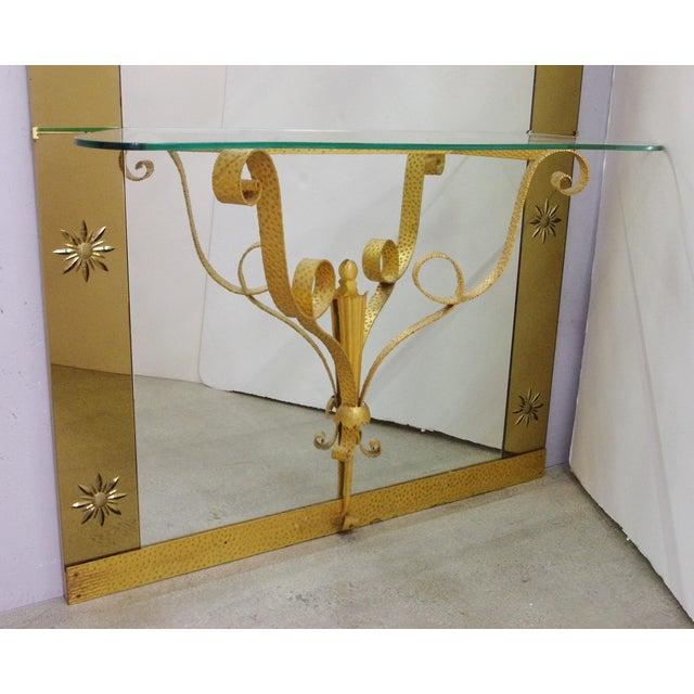 Art Deco Italian Mirror With Console by Pier Luigi Colli For Sale - Image 3 of 9