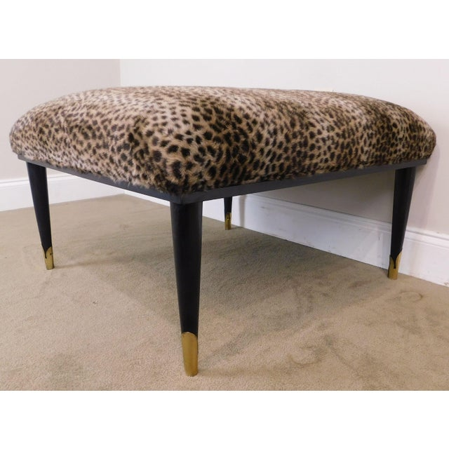 Black Mid Century Modern Square Cheetah Print Ottoman For Sale - Image 8 of 13