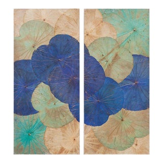 Contemporary Thai Lotus Leaf Wall Hangings - A Pair For Sale