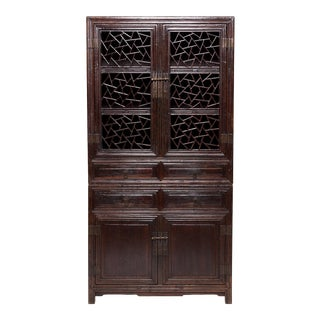 19th Century Chinese Cracked Ice Lattice Cabinet For Sale