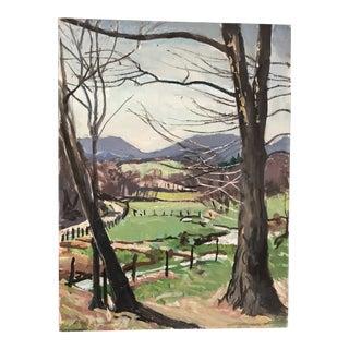1971 Vintage Don Squier Sugar Hollow Mountain Landscape Painting For Sale