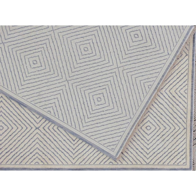Soumak Design Contemporary Hand Woven Wool Rug - 6' X 9' - Image 4 of 5