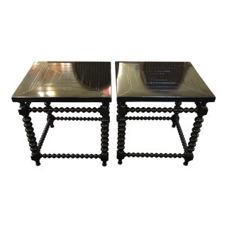 Transitional Bobbin Style Side Tables - A Pair For Sale