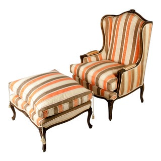 Mid Century European Bergere With Ottoman For Sale