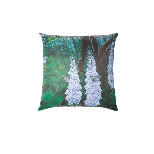 Foxglove and Butterfly Silk Pillow For Sale