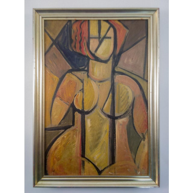 Mid 20th Century Mid-Century Cubist Portrait of Nude Woman For Sale - Image 5 of 5