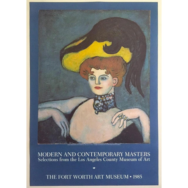 """Pablo Picasso Vintage 1985 Lithograph Print Exhibition Poster """" Courtesan With Jeweled Collar """" 1901 For Sale - Image 13 of 13"""
