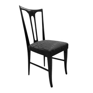 Midcentury Italian Ebonized Occasional Chair in Black Patterned Satin For Sale