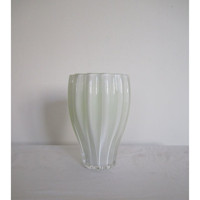 White And Neon Yellow Crystal Vase - Image 5 of 7