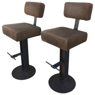 Industrial Brown Leather & Steel Bar Stools - a Pair