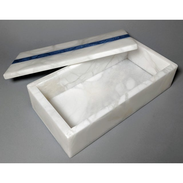 Early 21st Century Hermes Inspired Alabaster Box With Navy Blue Stripe For Sale - Image 5 of 13