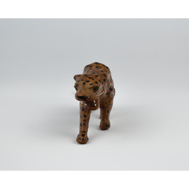 Brown Vintage Hand Painted Leather Leopard Figure For Sale - Image 8 of 13