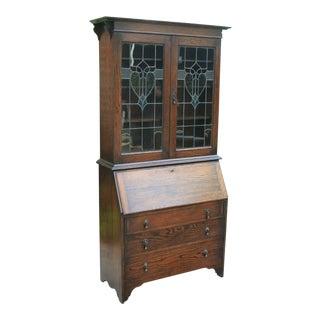 Antique English Oak Secretary Desk Bookcase Art Deco Nouveau Stained Glass For Sale