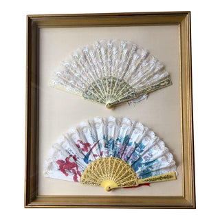 Late 18th Century Antique Silk Lace Framed Chinese Qing Dynasty Fans For Sale