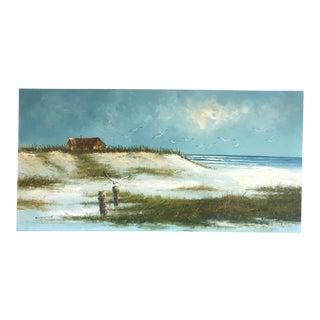 1970s Figurative Original Oil Painting on Canvas of East Coast Beach Landscape by L. Kohn For Sale