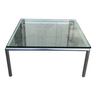 1970s John Mascheroni Aluminum + Glass Coffee Table For Sale