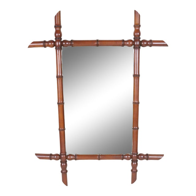 19th Century French Faux Bamboo Mirror For Sale