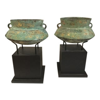 Chinese Bronze Vessels - a Pair For Sale