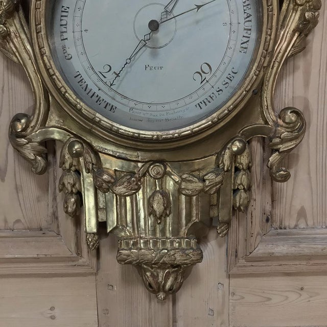 18th Century Giltwood Hand Carved Barometer - Thermometer For Sale - Image 9 of 11
