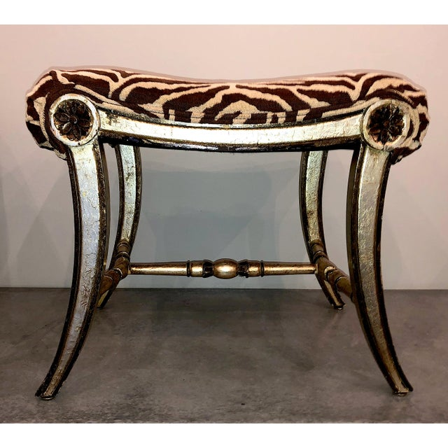 Hollywood Regency Silver Gilt Zebra Benches - a Pair For Sale - Image 10 of 13