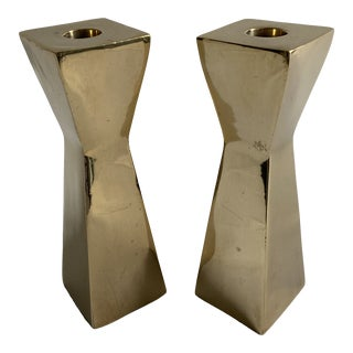 1960s Brass Sculptural Candlestick Holders - a Pair For Sale