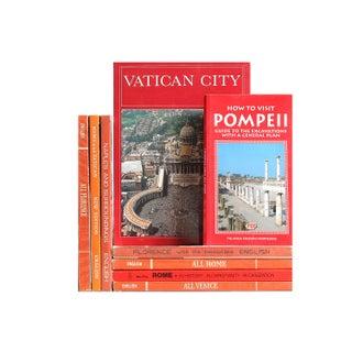 Orange Book Decor: Italian Travel Guides, S/9