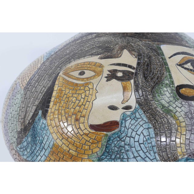 Clay Large Pablo Picasso Mosaic Ceramic Vase For Sale - Image 7 of 11
