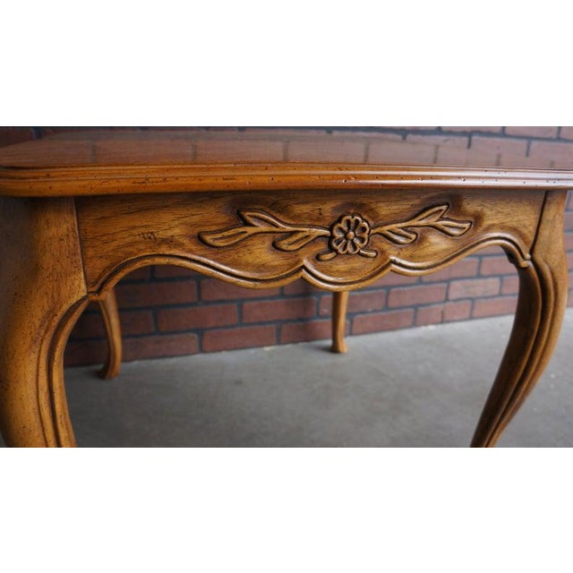 Country French style square end table by Drexel Heritage. Featuring gracefully scalloped carved apron and curvaceous legs....
