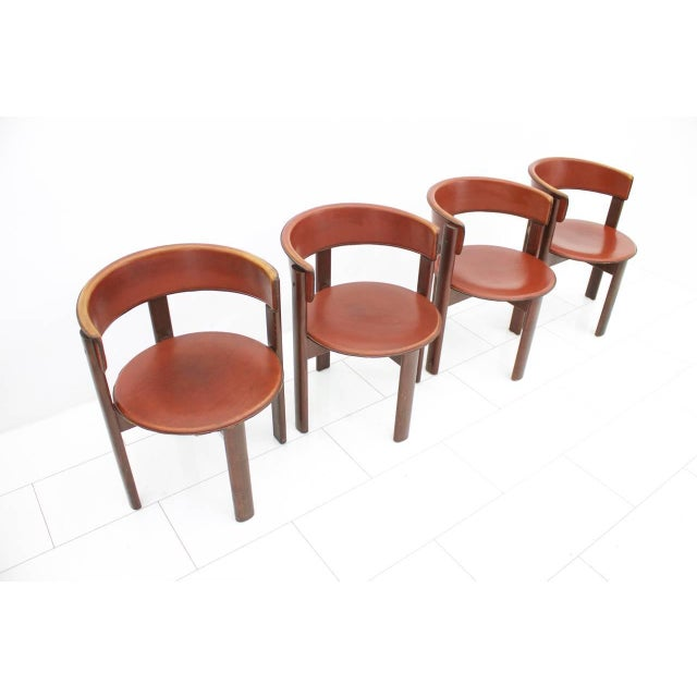 1970s Set of Four Cassina Dining Room Chairs in Red Leather Italy, 1970s For Sale - Image 5 of 12