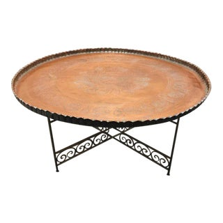 Large Persian Qajar Copper Tray Table For Sale