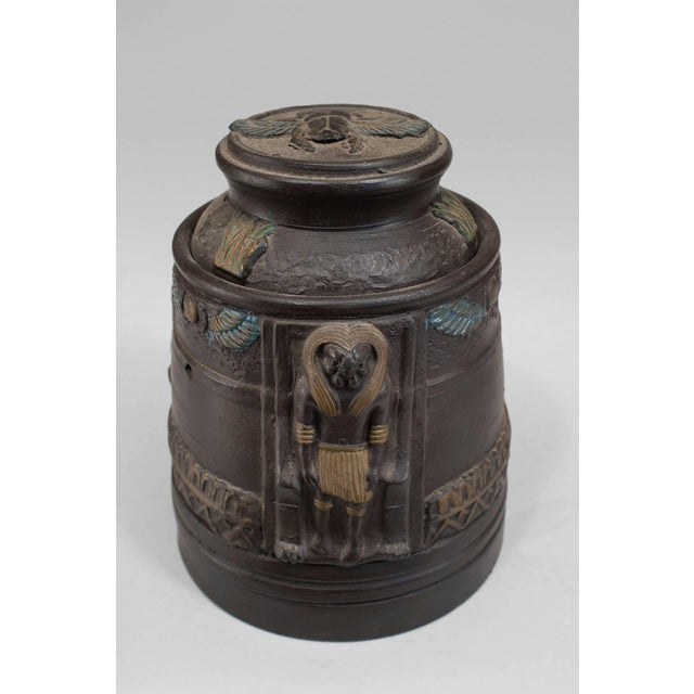 Egyptian Revival 1920s Japanese Egyptian Revival Tobacco Jar For Sale - Image 3 of 7
