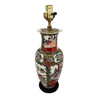 Antique Chinese Famille Rose Medallion Porcelain Vase Form Lamp For Sale