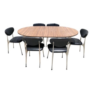 Vintage Mid Century Modern Shelby Willians Gazelle Dining Set With Six Chairs - Set of 7 For Sale