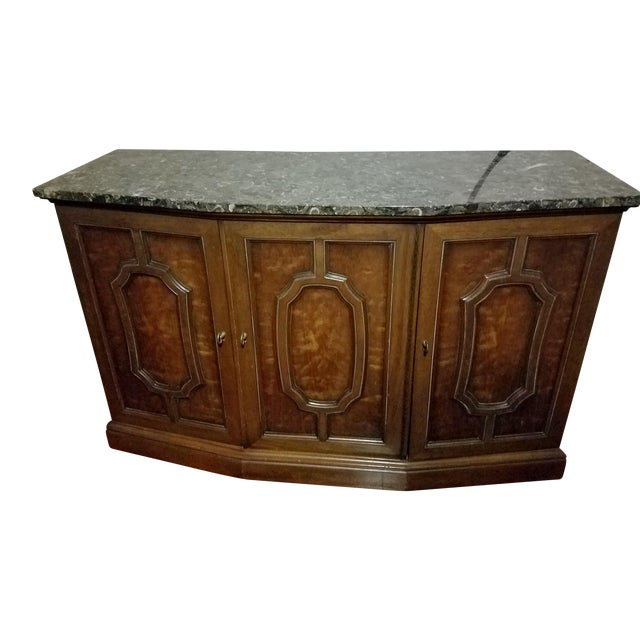 Henredon Sideboard Console Silver Cabinet W/Granite Stone Top - Image 1 of 8