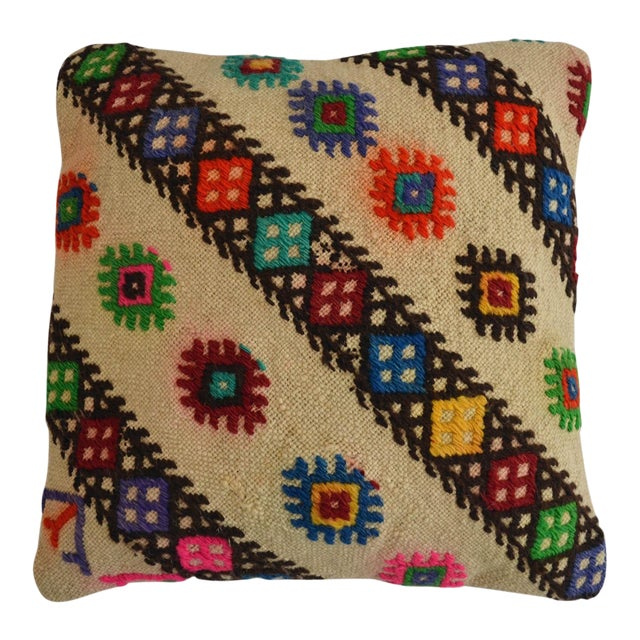 Vintage Handmade Kilim Rug Pillow Cover Turkish Diagonal Cut Throw Pillow For Sale