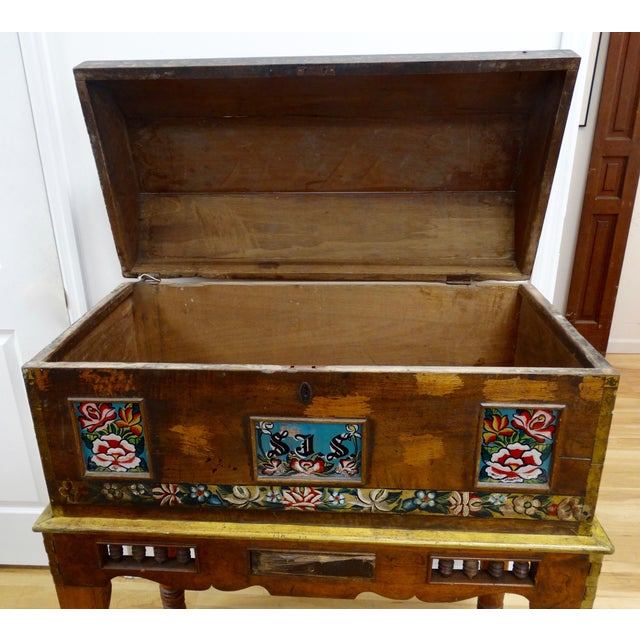 Antique Mexican Hand Painted Wedding Trunk - Image 4 of 5