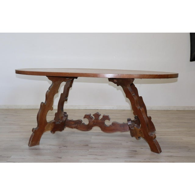 Beautiful oval Fratino table made towards the beginning of 1900 in perfect Renaissance antique style. Clear Italian...